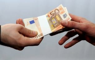 handing over euros