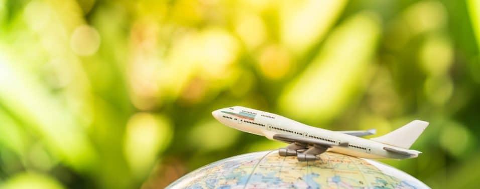 Plane on a globe