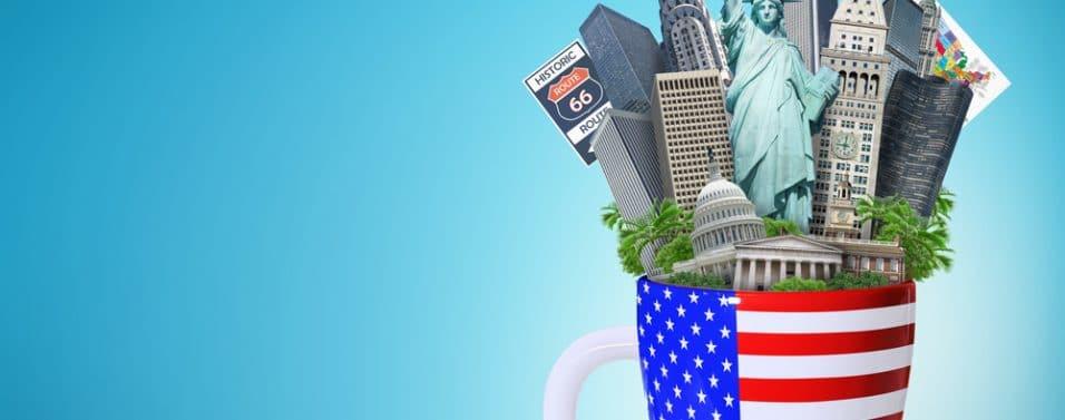 US landmarks in cup