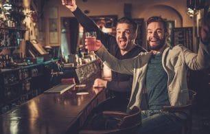pub scene men drinking