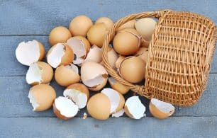 broken eggs in a basket