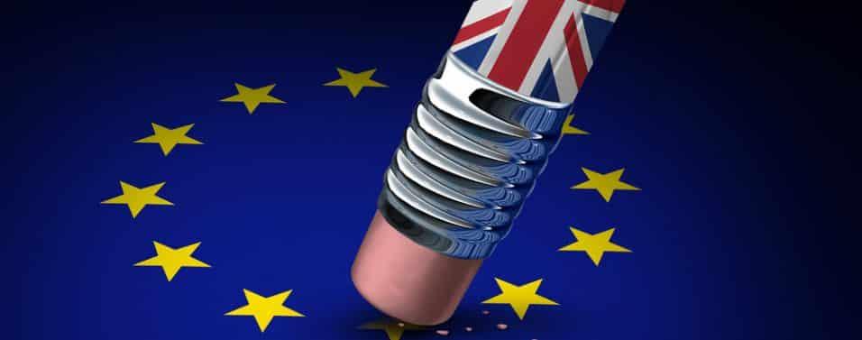 British pencil and EU flag