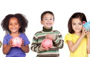 Children and piggy banks