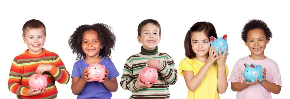Children and piggy banks