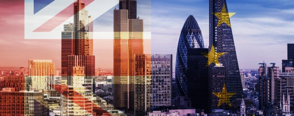 the city brexit flags