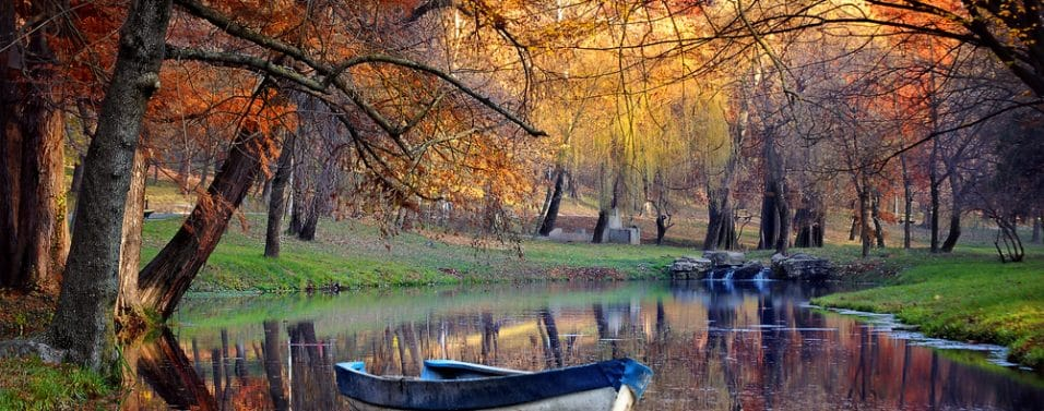 Country lake boat
