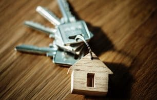 Keys on house key ring