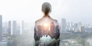 Businesswoman against modern city background