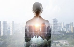 Businesswoman against modern city background