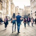Motion blurred shopping street scene