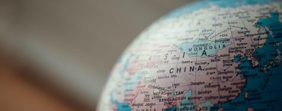 globe focused on China