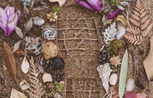 footprint in sand with flowers