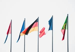 Row of multi national flags