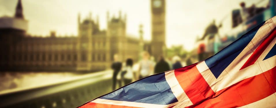 Union Jack flying in front of Big Ben