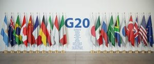 G20 summit or meeting concept. Row from flags of members of G20 Group of Twenty and list of countries