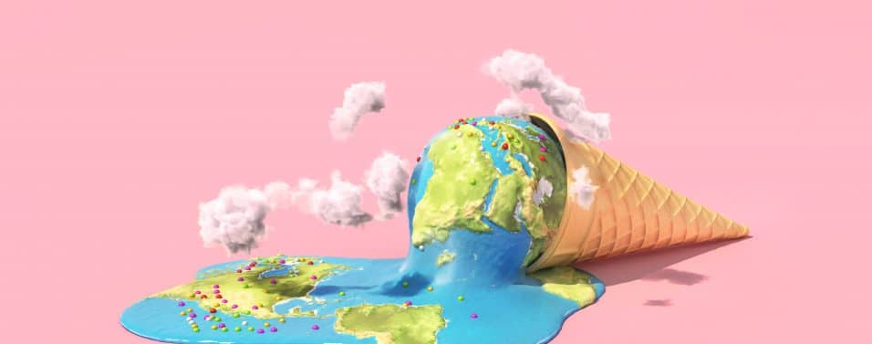 Global warning and climate change. Planet as melting ice cream under hot sun on a pink background. 3d illustration