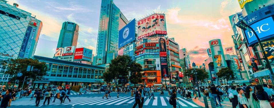 Japan busy streets dusk