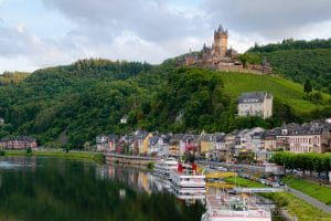 castle on hill in Germany above costal town