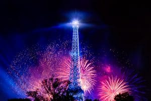 eiffel tower with fireworks