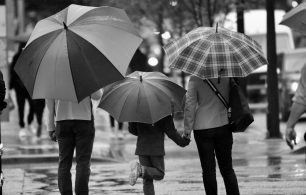 rainy day family black and white