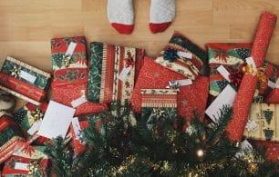 feet by presents christmas tree