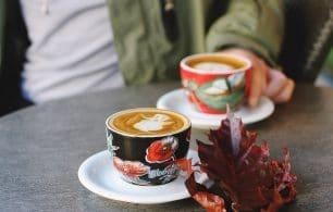 coffee with leaf