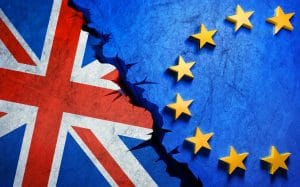 Brexit flags cracking