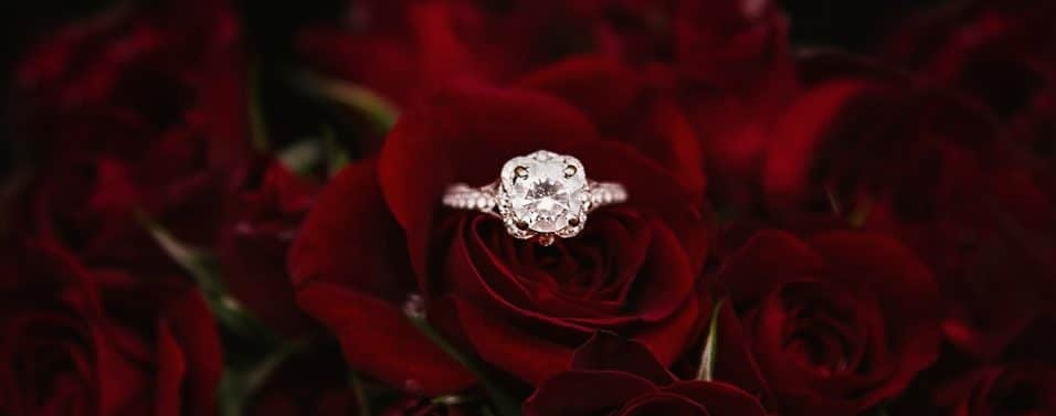 diamond ring in red roses