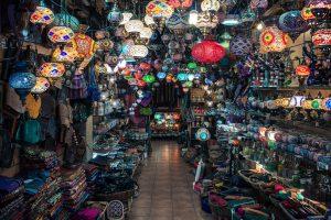 Colourful lanterns hanging in market shop