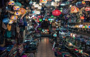 Colourful lanterns hanging in market shop