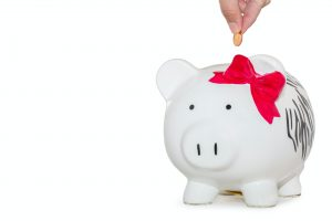 piggy bank with pink bow
