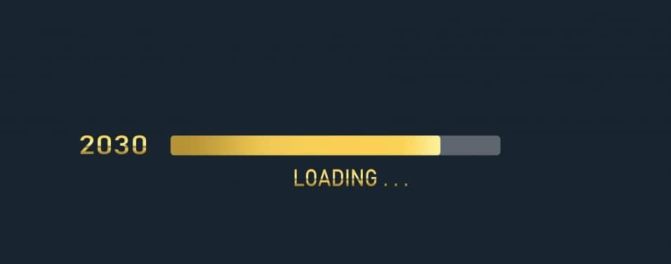 Golden loading progress bar of 2030, happy new year isolated on dark background.