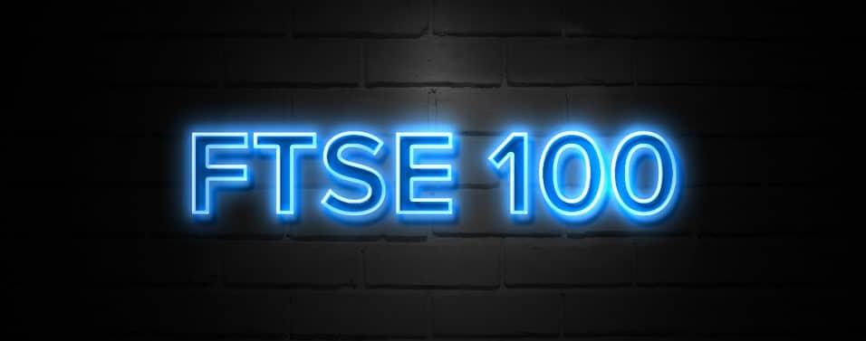 Ftse 100 neon Sign on brickwall
